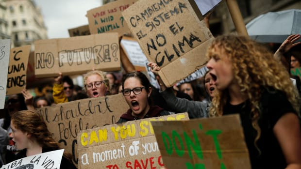 Young Spanish climate activists take part in a demonstration in Barcelona, Spain, on May 24th, 2019, as part of global protests demanding action against global warming.