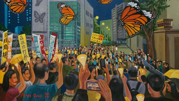 Four Umbrella Movement activists at Lai Chi Kok Reception Centre, by Perry Dino; oil on canvas, April 24th, 2019.