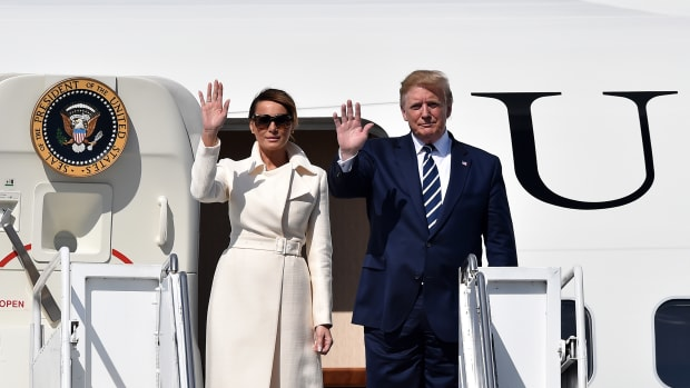 U.S. President Donald Trump disembarks Air Force One alongside First Lady Melania Trump after arriving at Shannon airport on June 5th, 2019, in Shannon, Ireland. Trump will use his Trump International golf resort in nearby Doonbeg as a base for his three-day stay in Ireland. The resort employs over 300 local people in the area and the village will roll out a warm welcome for the 45th President of the United States.