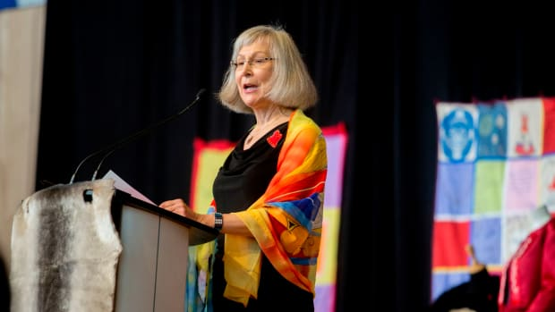 "Chief Commissioner Marion Buller speaks at the closing ceremony marking the conclusion of the National Inquiry into Missing and Murdered Indigenous Women and Girls at the Museum of History in Gatineau, Quebec, on June 3rd, 2019. After two and a half years of hearings, a Canadian inquiry released its final report on the disappearance and death of hundreds if not thousands of indigenous women, victims of endemic violence that the commission controversially said amounted to ""genocide."""