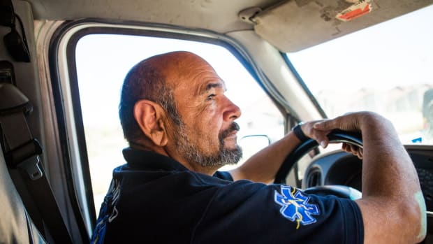 Francisco Olachea, who's known as Pancho or Panchito in the community, uses an old ambulance as his mobile health-care station, transporting medical supplies to refugee shelters where families are waiting with their asylum numbers.