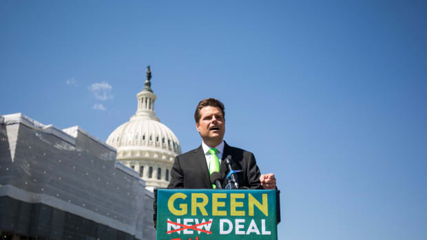 "Representative Matt Gaetz of Florida at a press conference unveiling the ""Green Real Deal"" on April 3rd, 2019, in Washington, D.C."