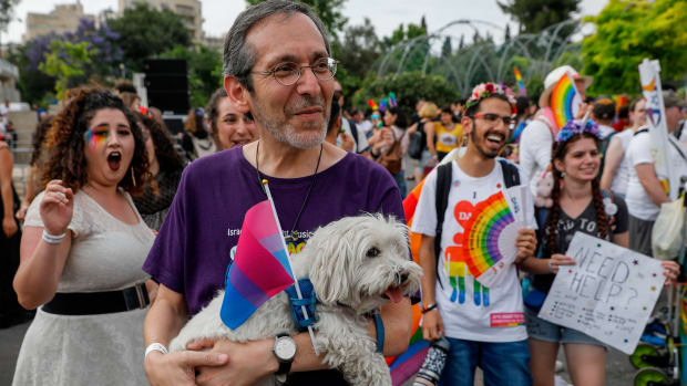 Participants to the 18th annual Jerusalem Gay Pride parade gather in the Holy City on June 6th, 2019. Police deployed some 2,500 undercover and uniformed officers for the parade that started at a park in Jerusalem and continued through nearby streets.
