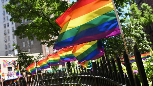 Rainbow flags are seen at the Stonewall National Monument, the first LGBTQ national monument, dedicated to the birthplace of the modern lesbian, gay, bisexual, transgender, and queer civil rights movement, on June 4th, 2019, in New York City.