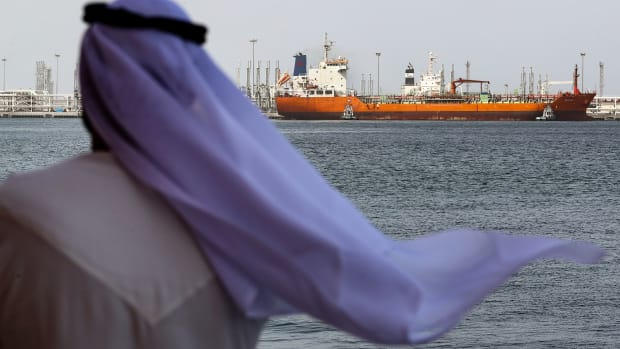 An Emirati man looks on at the port of Fujairah in the Gulf Emirate.