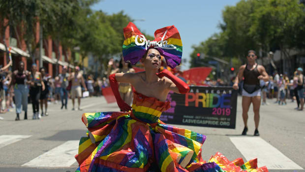 People participate in the annual L.A. Pride Parade in West Hollywood, California, on June 9th, 2019.
