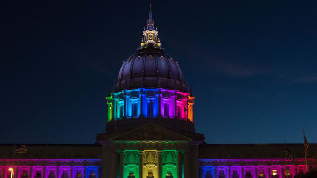 San Francisco City Hall is lit up in rainbow colors following Gay Pride on Sunday, June 26th, 2016.