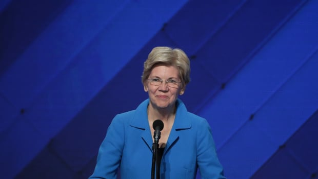 Senator Elizabeth Warren delivers remarks on the fourth day of the Democratic National Convention at the Wells Fargo Center, on July 28th, 2016, in Philadelphia, Pennsylvania.