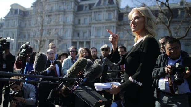 White House Counselor to the President Kellyanne Conway talks to journalists outside the West Wing of the White House on February 4th, 2019.