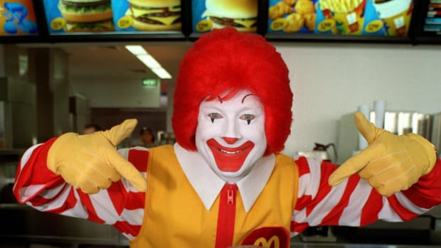 Ronald McDonald at the launch of the new McDonald's restaurant in the Athlete's Village in Homebush, Sydney, Australia.