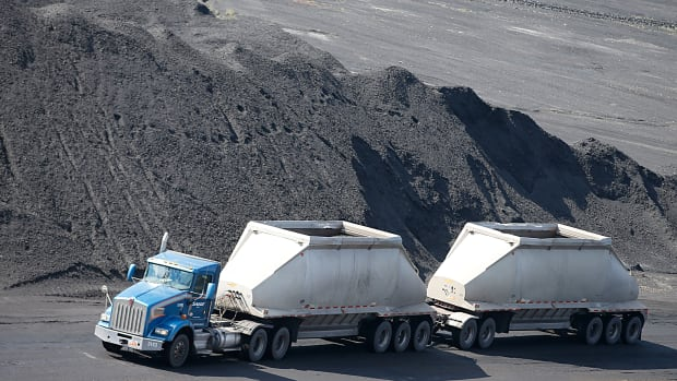 A coal truck transports coal in Price, Utah.
