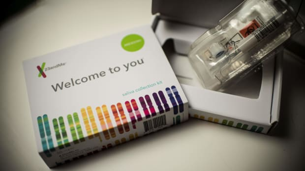 This illustration shows a saliva collection kit for DNA testing displayed in Washington, D.C., on December 19th, 2018.