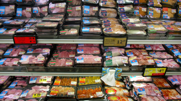 Various chicken packs at a supermarket