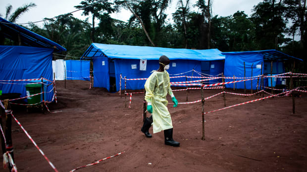 A health worker at an Ebola quarantine unit on June 13th, 2017, in Muma, after a case of Ebola was confirmed in the village.