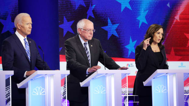 Democratic presidential candidates former Vice President Joe Biden, Senator Bernie Sanders (I–Vermont) and Senator Kamala Harris (D–California) take part in the second night of the first Democratic presidential debate on June 27th, 2019, in Miami, Florida.