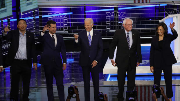 Former tech executive Andrew Yang, South Bend, Indiana, Mayor Pete Buttigieg, former Vice President Joe Biden, Senator Bernie Sanders, and Senator Kamala Harris take the stage for the second night of the first Democratic presidential debate on June 27th, 2019 in Miami, Florida.