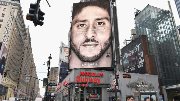 A Nike ad featuring American football quarterback Colin Kaepernick on display September 8th, 2018, in New York City.