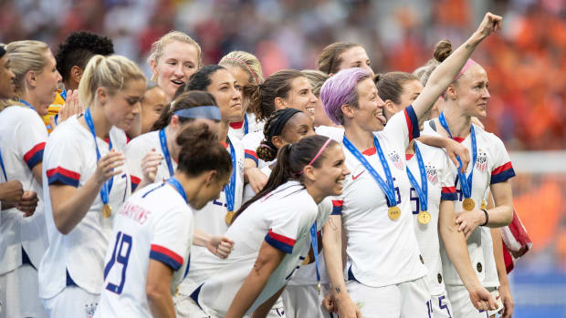Megan Rapinoe and the U.S. Women's National Team celebrate after winning the 2019 FIFA Women's World Cup.