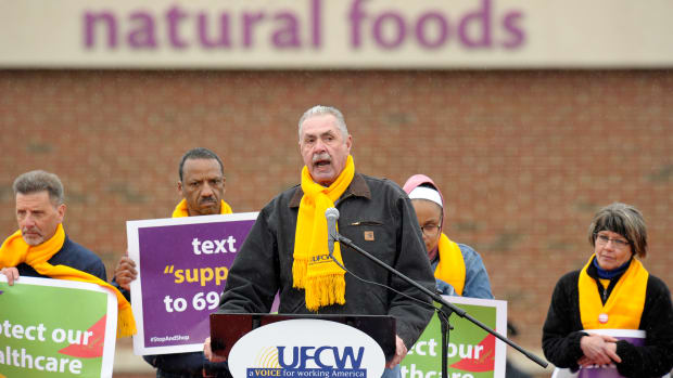 United Food and Commercial Workers President Marc Perrone addresses a rally in Dorchester, Massachusetts, organized by union members and attended by former Vice President Joe Biden, to support Stop and Shop employees striking throughout the region on April 18th, 2019.