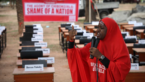 Aisha Yesufu, co-convener of the Bring Back Our Girls movement, delivers a speech on April 14th, 2019, during the fifth annual commemoration of the abduction of the 276 Chibok schoolgirls by Boko Haram from a government secondary school in Nigeria.