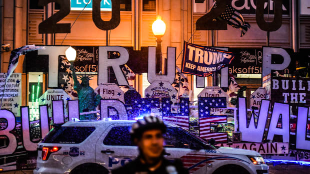 """A float dedicated to President Donald Trump, pictured after a """"Demand Free Speech"""" rally on Freedom Plaza on July 6th, 2019, in Washington, D.C."""