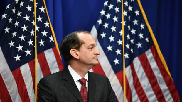 Secretary of Labor Alexander Acosta holds a press conference at the U.S. Department of Labor on July 10th, 2019, in Washington, D.C.