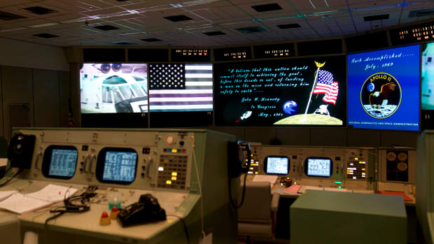 Newly restored Apollo Mission Control Room at NASA's Johnson Space Center in Houston, Texas.