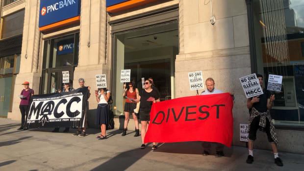 Protesters outside a PNC bank location.