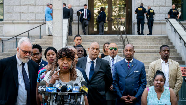 Gwen Carr, mother of the late Eric Garner, speaks to the press outside the U.S. attorney's office following a meeting with federal prosecutors on July 16th, 2019, in Brooklyn. The U.S. Department of Justice announced it will not bring federal charges against NYPD officer Daniel Pantaleo in the death of Eric Garner.