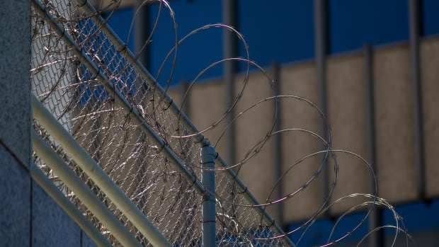Razor wire outside a California detention center.