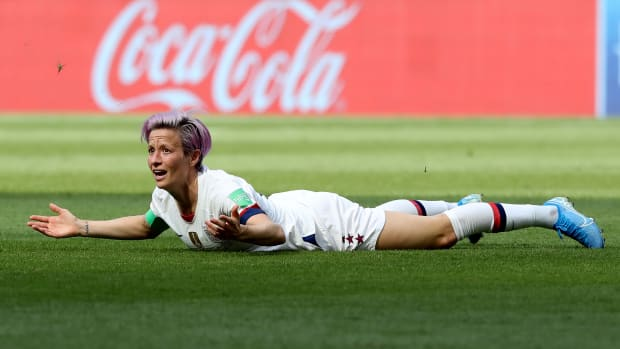Megan Rapinoe reacts during the 2019 FIFA Women's World Cup France Final match between the U.S. and the Netherlands at Stade de Lyon on July 7th, 2019, in Lyon, France.