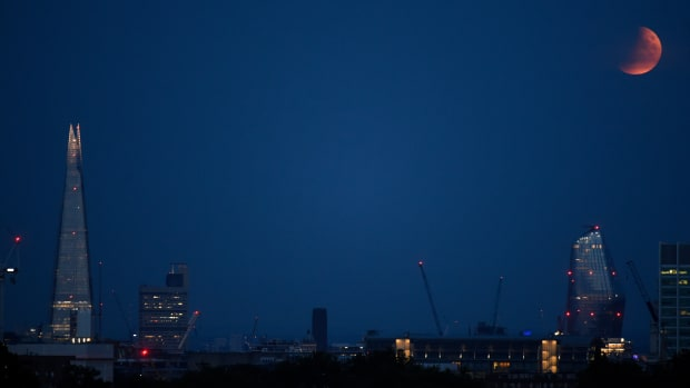 A lunar eclipse over London.