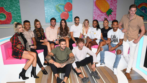 Megan Barton Hanson, Wes Nelson, Georgia Steel, Dani Dyer, Jack Fincham, Laura Anderson, Paul Knops, Samira Mighty, Josh Denzel, Kaz Crossley, and Alex George during the Love Island Live photocall at ICC Auditorium on August 10th, 2018, in London, England.