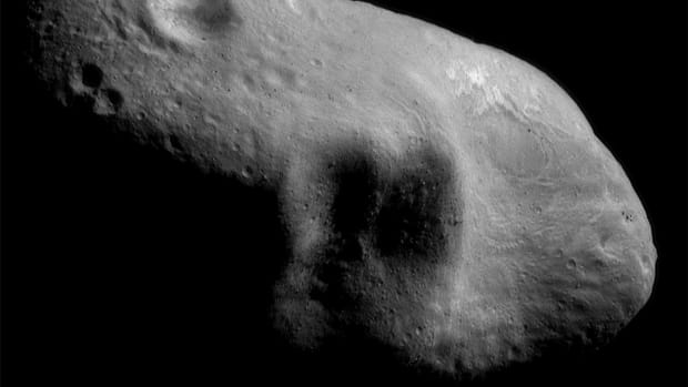 An image mosaic of the asteroid Eros taken by the robotic NEAR Shoemaker space probe on March 3rd, 2000, from a distance of 127 miles.