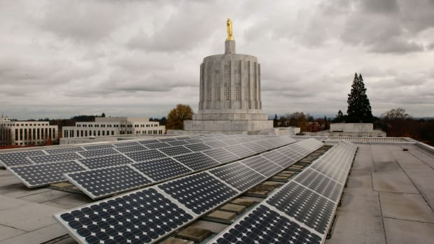 Photovoltaic solar panels on the west wing roof of the Oregon State Capitol, pictured on November 14th, 2005, in Salem, Oregon.