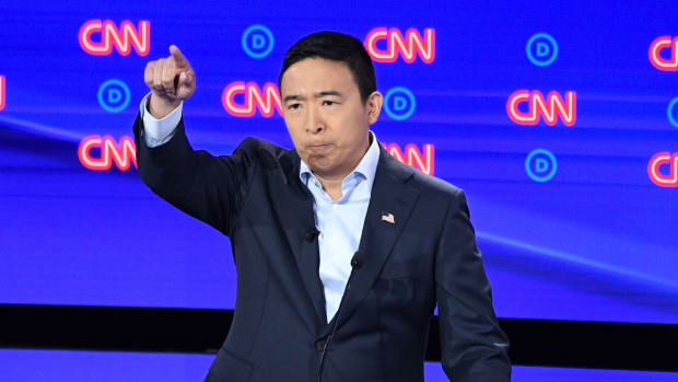 Entrepreneur and Democratic presidential hopeful Andrew Yang speaks during the second round of the second Democratic primary debates, hosted by CNN at the Fox Theatre in Detroit, Michigan, on July 31st, 2019.
