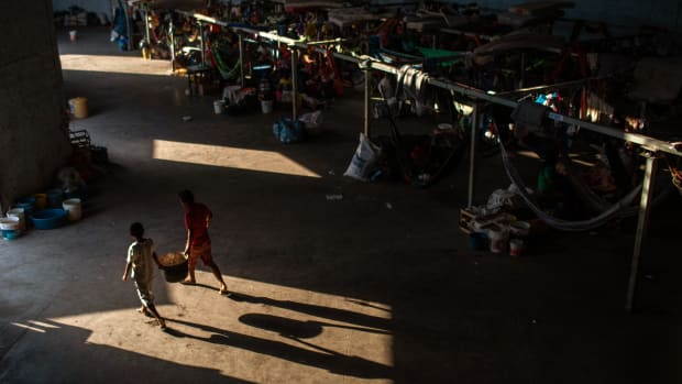 Members of the Venezuelan Indigenous group Warao take refuge at the Janokoida United Nations shelter on April 6th, 2019, in Pacaraima, Brazil.