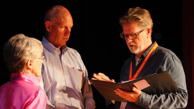 Left to right: actors Robin Gerber and Carl Thelander, with artistic director Robert Egan.