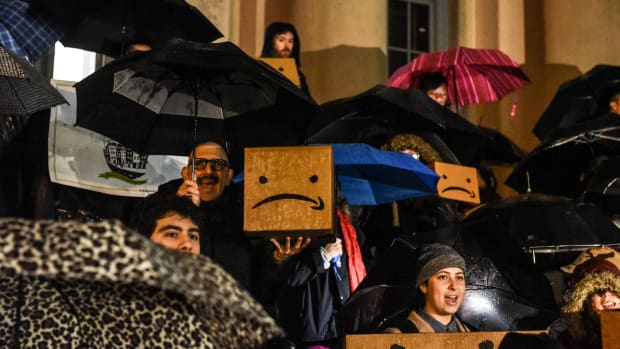 People opposed to Amazon's plan to locate its second North American headquarters in New York City protest at the courthouse in Queens on November 26th, 2018. Amazon recently named the neighborhood of Long Island City in Queens as one of two locations that will house the headquarters, known as HQ2.