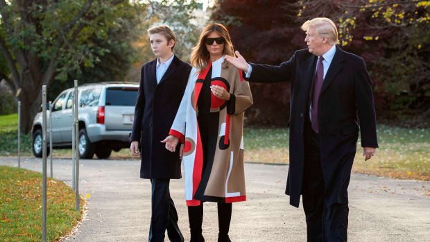 President Donald Trump, First Lady Melania Trump, and their son Barron depart the White House in Washington, D.C., on November 20th, 2018.