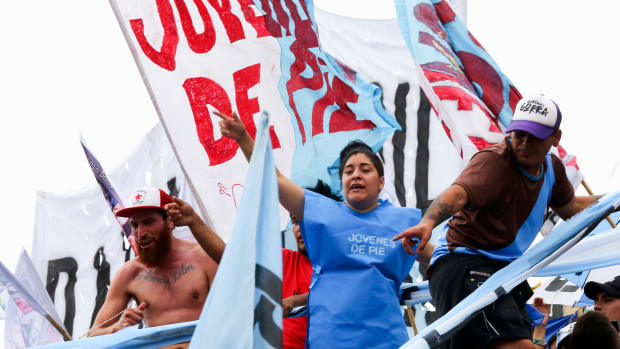 Demonstrators protest against the upcoming Group of Twenty (G20) summit in Leon Kolbowsky Stadium on November 27th, 2018, in Buenos Aires, Argentina. Leftist groups have planned more demonstrations and invited international activists to join them.