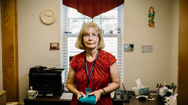 Newark, Ohio, September 5th, 2018: Nurse Mary Beth Hagstad holds a naloxone kit in her office at the Licking County Health Department.