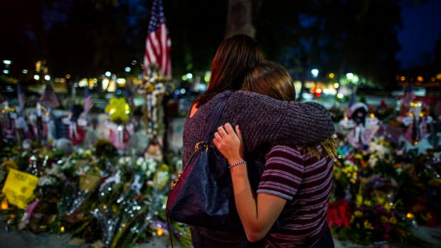 A vigil site for the victims was erected not far from where the Borderline Bar and Grill shooting happened in Thousand Oaks, California.