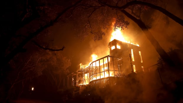 A home is consumed by fire during the Thomas fire on December 7th, 2017 in Ojai, California.
