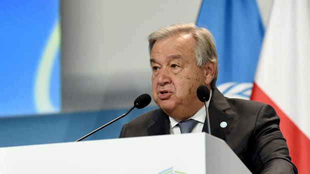 Antonio Guterres, United Nations secretary-general, delivers a speech during the opening of the COP24 summit in Katowice, Poland, on December 3rd, 2018.