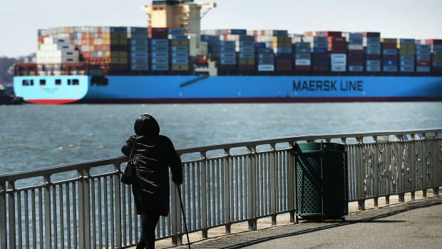 A Maersk cargo ship arrives in New York harbor on April 9th, 2018, in New York City.