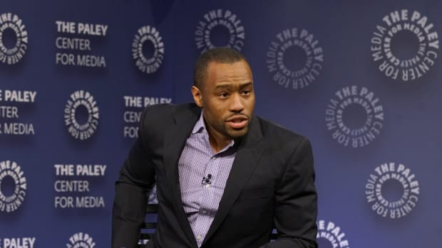 Marc Lamont Hill moderating a panel at the Paley Center for Media on December 7th, 2016, in New York City.