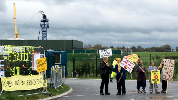 The roadside near Cuadrilla's operations is covered in anti-fracking art and posters.