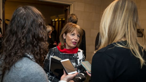 Representative Jackie Speier (D-California) speaks to members of the press during a Democratic Caucus meeting to elect new leadership on Capitol Hill on November 28th, 2018, in Washington, D.C.