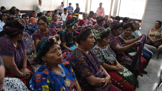 Ixil indigenous women attend a hearing during the genocide trial of former dictator Efrain Rios Montt in Guatemala City on August 25th, 2015.